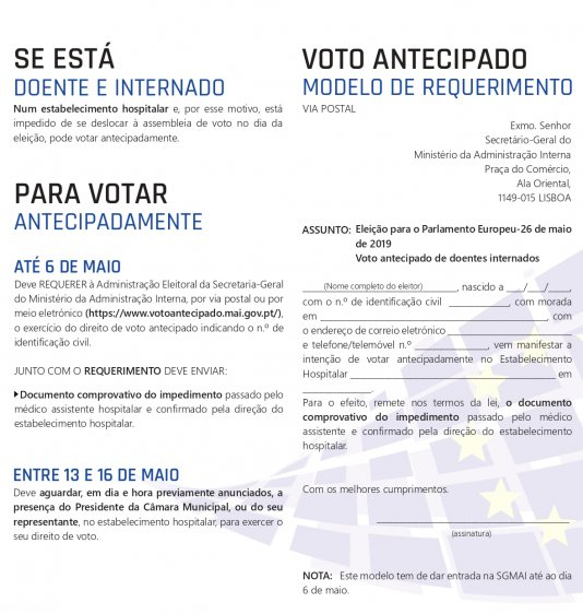 VOTO ANTECIPADO - DOENTES