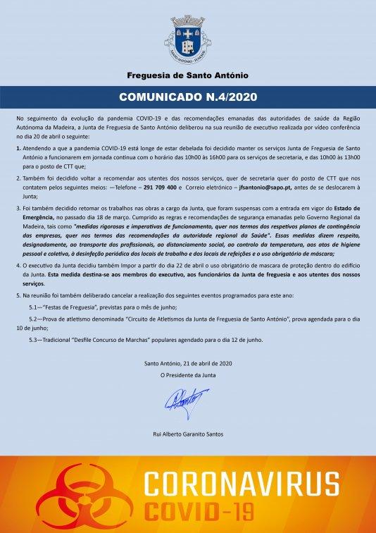 COMUNICADO N.º 4/2020