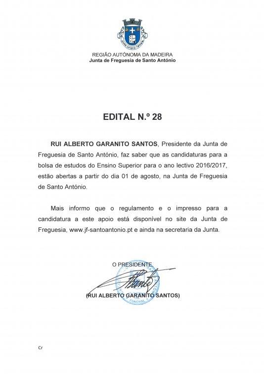Candidaturas à Bolsa de Estudo para o ano lectivo 2016/2017da Junta de Freguesia