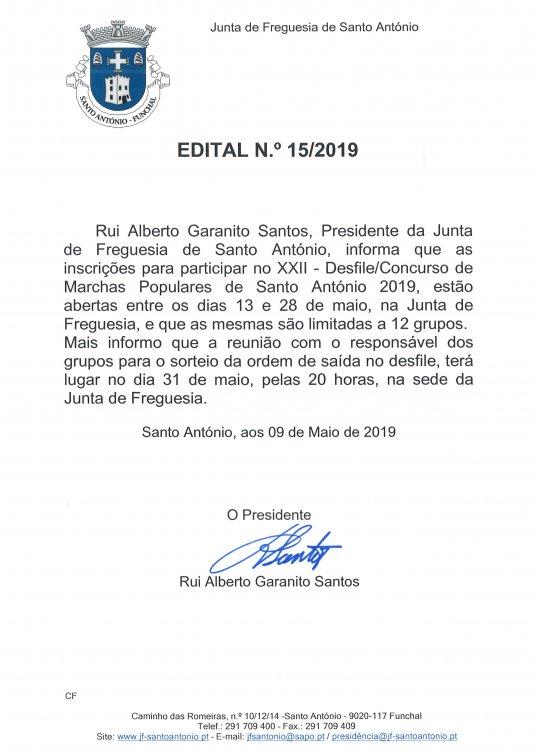 Inscrições/Reunião para Marchas Populares de Santo António 2019