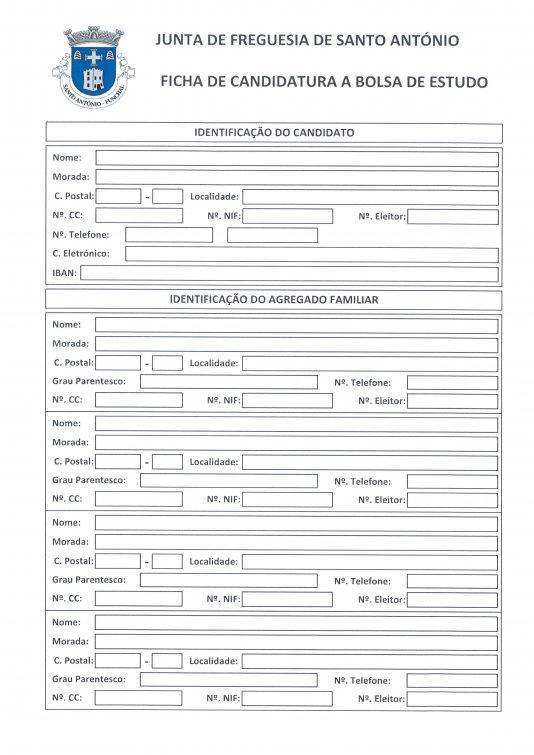Página 1- Impresso para a Bolsa de Estudo 2016/2017