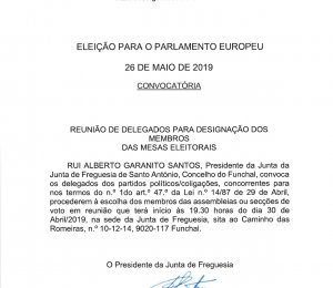Eleição para o Parlamento Europeu 26 de maio de 2019- Convocatória